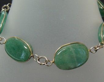 Jadite and silver tone link bracelet