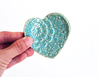 Turquoise Heart - Ring Dish - Coffee Spoon Rest - Ceramic, Pottery - Aqua - Jewelry Dish, Bridesmaid Gift, Tea Bag Rest - Valentine Gift