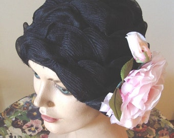 20's Style Cloche Horsehair Braid Removable Pink Rose  Item # 838  Hats