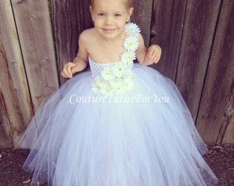 Flower Girl, White Tulle flower girl Dress, tulle flower girl dress wedding, tutu dress tulle flower girl, tutu flower girl dress
