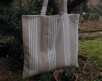 Bag tote bag striped beige white