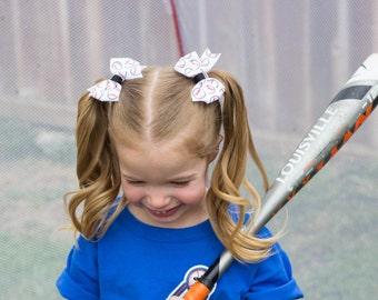 Baseball Hair Bows, Baseball Pigtail Bows, Baseball Bows, Baseball Team Bows, Pigtail Hair Bows, Team Hair Bows, Baseball Hair Clips