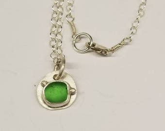 """Green Sea Glass Necklace 18"""""""
