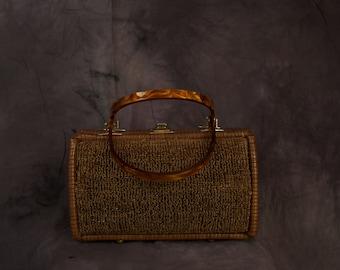 Vintage Brown Straw Frame Handbag