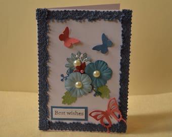 Butterfly card, Floral card, handmade card