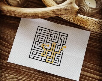 Geometric Maze Cross Stitch Pattern Maze Puzzle Symbol Design [PDF Pattern Digital File Instant Download]