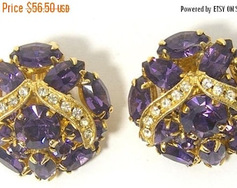ON SALE Vintage Weiss Signed Purple Rhinestone Clip-On Earrings, 1960's Designer Signed High End Hard To Find Rare Jewelry