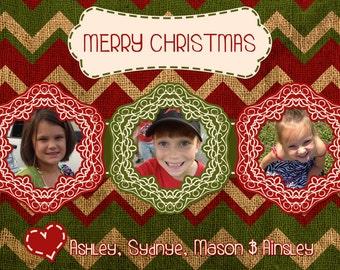 Christmas 3 Photo Card - Digital File (4x6 or 5x7)