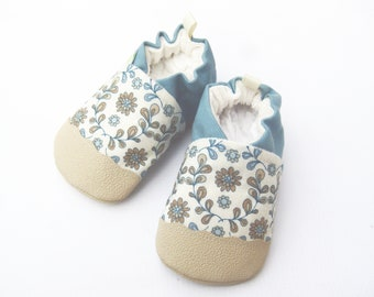 Classic Vegan Antique Blue Floral / Non-Slip Soft Sole Shoes / Made to Order / Babies Toddlers Preschool