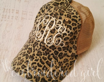 Leopard Trucker Hat, Ball Cap, Trucker Hat, Monogrammed Hat, Base Ball Cap, Personalized Cap