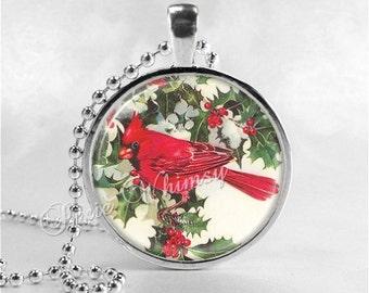 CARDINAL Pendant Necklace, Cardinal Bird Jewelry, Red Bird, Glass Photo Art Necklace, Antique Cardinal Art
