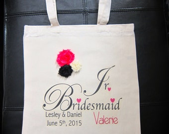 Personalized Jr. Bridesmaid gift bag wedding married bride