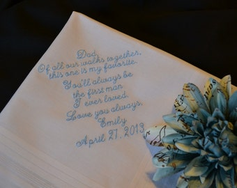 Personalized Wedding Hankie for Father from Bride