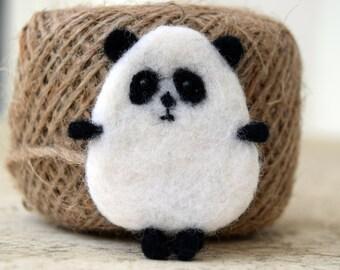 Needle Felted brooch - Panda - wool brooch