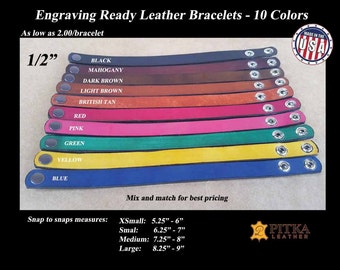 Leather Bracelets ready for Engraving - Wholesale Leather Bracelets - Made in USA - Quantity Discount - As low as 2.00 USA dollars/bracelet