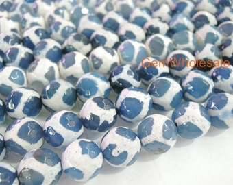 "14.5"" 10mm/12mm Blue color Bulk tibetan Dzi beads round beads, Blue Dzi agate with white stripe, semi-precious stone"