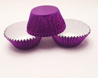 48 Purple Foil Standard Size Cupcake Liners Baking Cups
