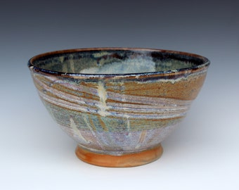 Medium Rutile Serving Bowl with Brown Iron Slip