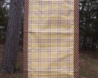 Yellow and Carmel Plaid Table Runner With Coordinating Brown Circle Print
