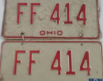 Vintage  ohio license plate pair ff 414