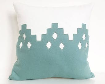 """Moroccan Diamond Pillow in Seafoam Felt on Creamy White Cotton, 16"""" square"""