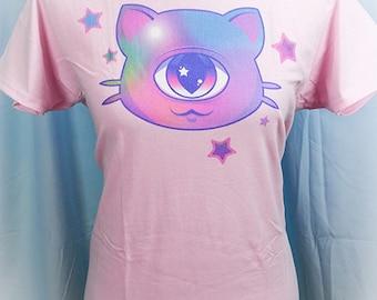 Mewclops Cyclops Kitty Cat Graphic T Shirt Kawaii Pastel Goth Fairy Kei