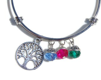 Tree of Life Bangle; Personalized Tree of Life Bangle with Birthstones; Tree of Life Bracelet; Family Tree Bangle; Mother's Day Personalized