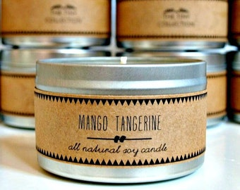 MANGO TANGERINE // Soy Candle. Natural Candle. Scented Candle. Eco Friendly. Vegan Friendly. Natural Gift. Custom Gift.