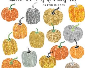 Gold Glitter Clip Art, Pumpkin Clipart, Thanksgiving Clipart Instant Download, Commercial Use Fall Clip Art