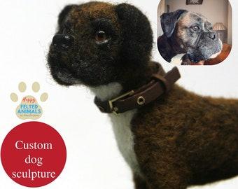 Personalized Stuffed Dog Loss Gifts Custom Plush Dog Needle Felted Animals Pet loss gifts Custom Pet Sculpture Dog portrait Wool Boxer Dog
