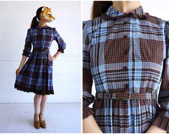 Vintage 1950's Blue and Brown Plaid Shirt-Waist Day Dress with Peter Pan Collar by Pre-Teen | Small/Medium