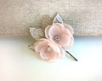 Blush Flower Lace  Hair Clip, Small Flowers Bridal Hair Pieces, Rustic Burlap  Blush Pink Wedding Hair Flower, Flower Girl Chiffon Flowers