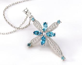 Sterling Silver Cross, Silver Cross, Blue Topaz Cross, Cross Pendant, Cross Necklace, Cross Jewelry, Relidious Jewelry, Silver Cross Pendant