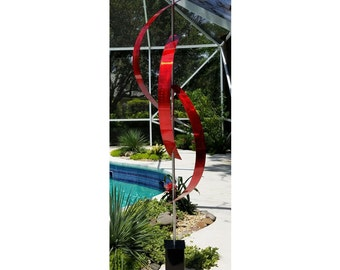 Red Large Freestanding Metal Sculpture, Abstract Indoor-Outdoor Art, Modern Garden Sculpture, Yard Art - Red Centinal by Jon Allen