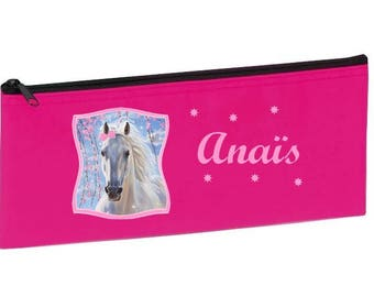 School Kit pink horse personalized with name