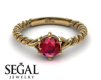 Ruby Ring Yellow Gold Red Ruby Solitaire Engagement Ring Edwardian Bridal Ring Unique Yellow Gold Engagement Ring Ruby Ring - Keira
