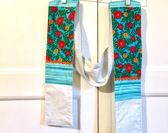 Scarf- cotton flannel lined- turquoise and red floral