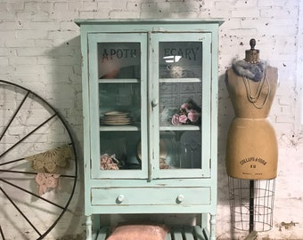 Painted Cottage Prairie Chic Apothacary Pie Display China Cabinet