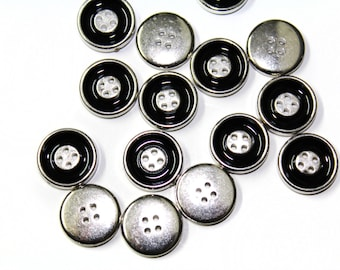 35 Sewing Buttons in Silver with Black For Fashion Crafts and Accessories