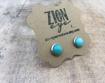 Amazonite Stud Earrings 8mm Stainless Steel