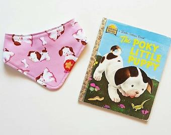 Poky Little Puppy Little Golden Book pink bandana girl baby bib