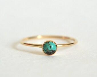 Gold Turquoise Ring, Turquoise Ring Gold, Gold Filled Turquoise Ring, Stackable Ring, Stacking Ring, 14k Gold Ring, Dainty Ring