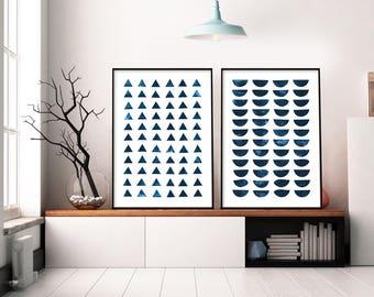 Set of 2 Prints, Abstract Art Prints, Large Wall Art, Printable Abstract Art, Navy Blue Wall Art, instant download Art, Minimal Art 12x16