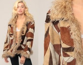 Patchwork Leather Jacket Suede Jacket Faux Fur Jacket 90s Fake Fur Coat Winter Vintage Bohemian Brown 1990s Hipster Boho Large