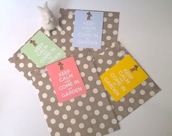 """4 pouches Easter gift, label """"Keep Calm and come in my garden"""""""
