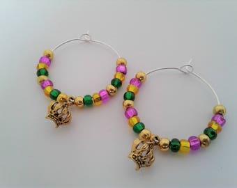 Mardi Gras King Rex Crown Charm Hoop Earrings