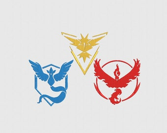Pokemon Go Team Logos - Machine Embroidery Design - 4 Sizes - 9 Formats - Instant download - Mystic, Valor and Instinct