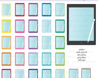 iPad Tablet with Pencil Icon Digital Clipart in Rainbow Colors - Instant download PNG files