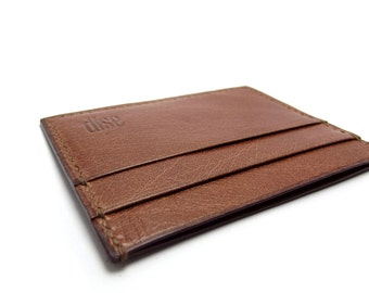 Monogrammed Leather Wallet, Cognac Brown, Small and Complact, Handmade by Sakao, DAD GIFT, Copper brown