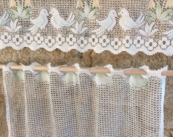 French lace cafe curtain set- birds and watering can design- coloured . Home decor , french cuisine.
